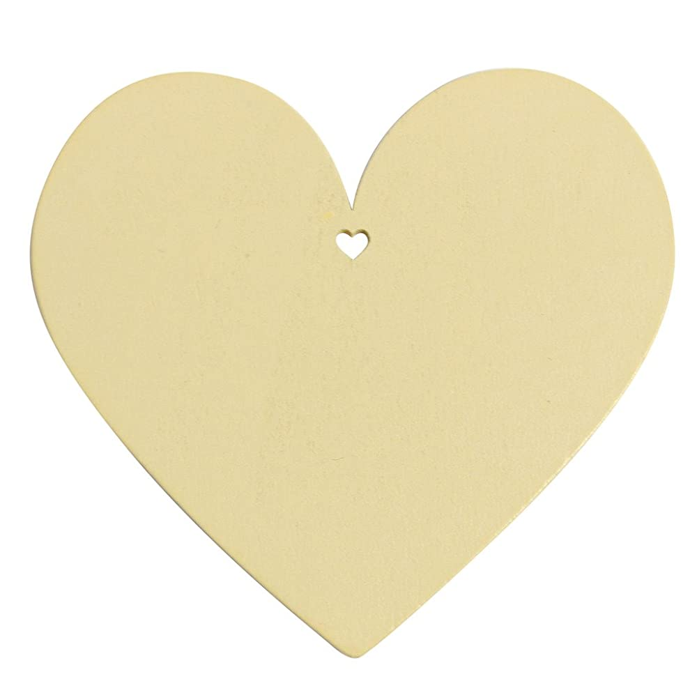 50 Cream Wooden Heart Shape Craft Tags Plaques Decorative 100mm by Kurtzy TM