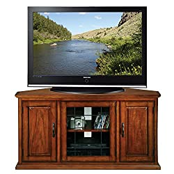 Leick 80385 Oak Leaded Glass Corner TV Stand