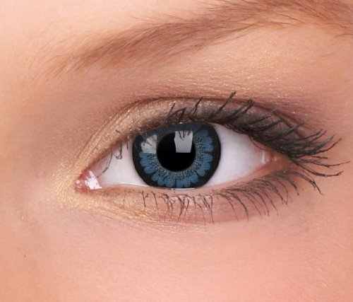 Farbige Kontaktlinsen & Color Contact lenses Dunkelblau / Blau / Blue 1 Paar (2 Stück) incl. 60ml Pflegemittel und Behälter!