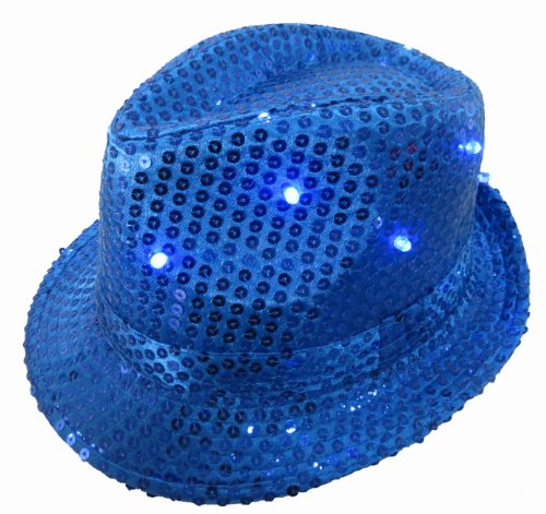 WeGlow International Light Up Sequin Fedora Hat, Blue
