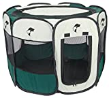 """Green Portable Pet Playpen Puppy Dog Folding Crate Pen - 36"""" X 23"""" Fold up Indoor Outdoor Dog Cat Play Pen - Zippered Top and Door Access with Stakes Included. Brand: Perfect Life Ideas -Tm®"""