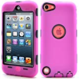 i-Blason ArmorBox Hybrid 3 Layer Defender Case with Built-In Screen Protector for iPod touch 5G (Magenta)