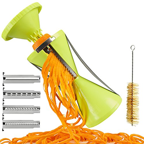 Brieftons NextGen Spiralizer: 4-Blade Vegetable Spiral Slicer, 150% Bigger, 50% Less Wastage, Perfect Veggie Spaghetti/Pasta Maker