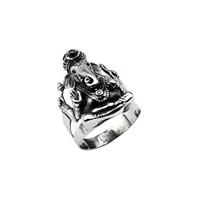 INOX Men's Stainless Steel Black Oxidized Ganesh Ring
