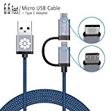 Micro USB Cable, USB C to USB Adapter, 6.6 Ft Long F-color™ 2 in 1 Combo Design, Reversible Type C Charger, Braided Cable Cord For Micro USB and Type C Devices, Blue Cable With Grey Connector by Fcolor [並行輸入品]