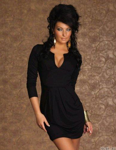 Sexy Langarm Kleid, Minikleid Damen Kleid aus Stretch fähigem Stoff Rundausschnit für Sexy Dokolleté in Schwarz Uni Gr.34-38