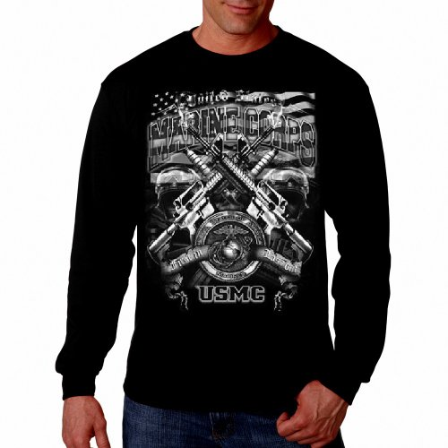 United States Marine Corps Big Logo Marines Thermal Longsleeve Shirt USMC Black,X-Large