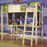 Powell LittleMissMatched Artsycraftsy Twin Size Study Loft Bunk Bed (ships in 2 cartons)