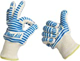 #1 Grill Gloves Withstand Heat up to 662°F - Premium Barbecue & Oven Heat Resistant Gloves - Set of 2 Kitchen Gloves Insulated By Aramid with 100% Cotton Lining Provides Super Comfort for BBQ - Five Fingers Heatproof Oven Gloves Set - Use As Oven Mitt, Pot Holders, Baking, Fireplace & Cooking Gloves. Grill Heat Aid Gloves Are the Highest 5* Review Rating in the Market - Satisfaction Guaranteed