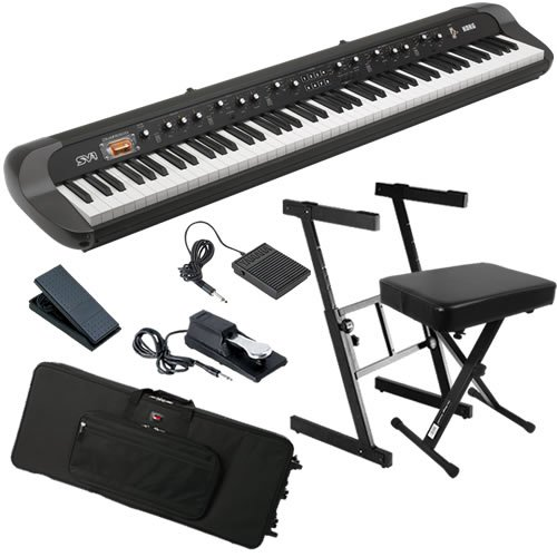 Korg SV-1 88 Stage Piano BUNDLE w/ Keyboard Bag, Stand, Bench & Pedals
