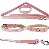 """WwWSuppliers Pink PU Leather Crocodile Rhinestones Bling Dog Puppy Cute Dazzling Sparkling Elegant Fancy Pet Adjustable Collar & Pink Bling Leash Lead Diva Fashion Combo (Extra Small: 7""""-10"""")"""