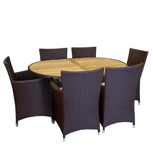 Gartengarnitur Alu/Teak 150x96 oval Sessel + Polster - 7tlg