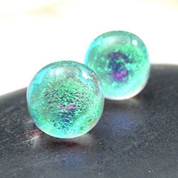 Small-Green-Stud-Earrings-in-Sparkling-Dichroic-Fused-Glass-Green-Mermaid-Tears-Post-Earrings