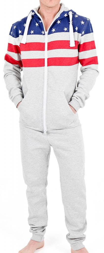 SkylineWears Men's Fashion Onesie Hooded Jumpsuit One Piece non Footed Pajamas Bodysuit Playsuit