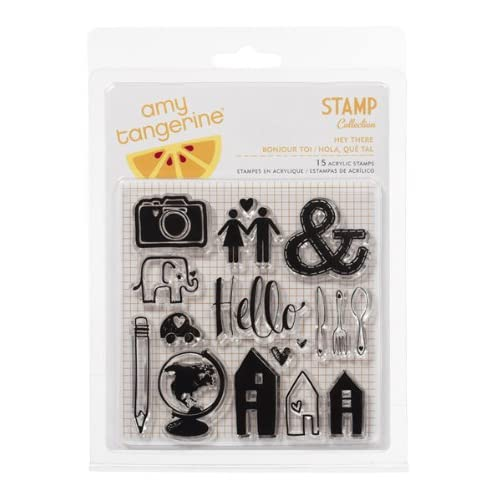 American Crafts - Amy Tangerine Collection - Ready Set Go - Clear Acrylic Stamps - Hey There