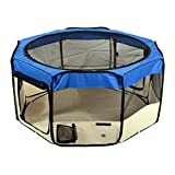 """Jespet 61"""" Blue Playpen Dog Puppy Animal Exercise Pen Kennel 30"""" Height Portable Soft Sided Cat Dog Tent Fence Cage with Carry Bag"""