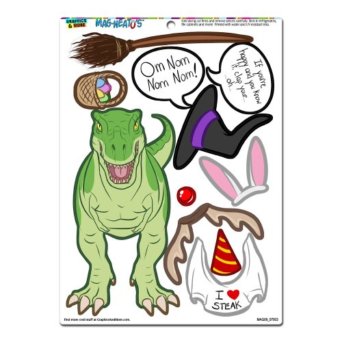 Graphics and More 'Tyrannosaurus Rex Dress-Up' T-Rex Dinosaur Funny MAG-NEATO'S Novelty Gift Paper Doll Locker Refrigerator Vinyl Magnet Set
