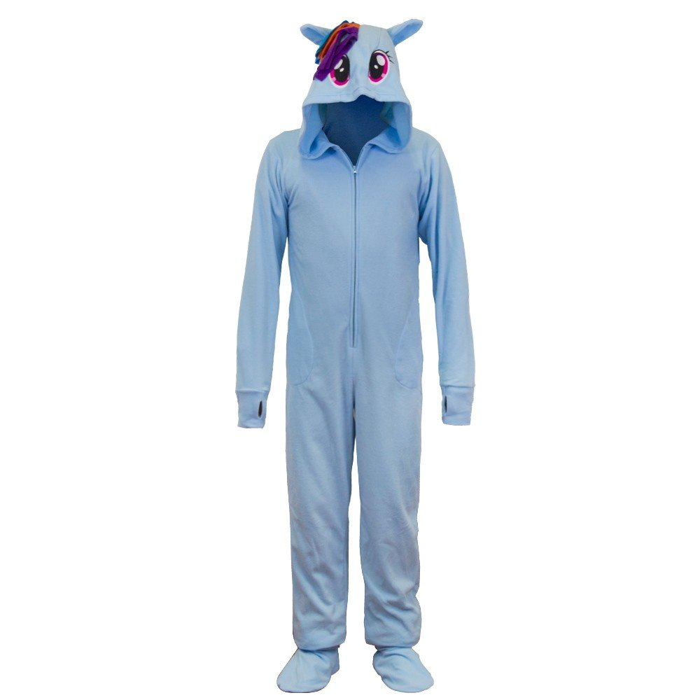 My Little Pony Rainbow Dash Fleece Onesie Footie Pajama for Women  men
