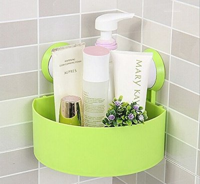Rainbow Love Strong Sucker Tripod Triangle Bathroom Corner Shelving Shelf Storage Racks for Bathroom Toilet Kitchen Green