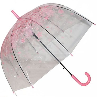 Kung-Fu-Smith-Women-Half-Automatic-Clear-Flower-Bubble-Dome-Shape-Wind-Stick-Rain-Umbrella-Pink