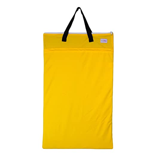 Large Hanging Wet Dry Bag for Baby Cloth Diapers or Laundry (Yellow)