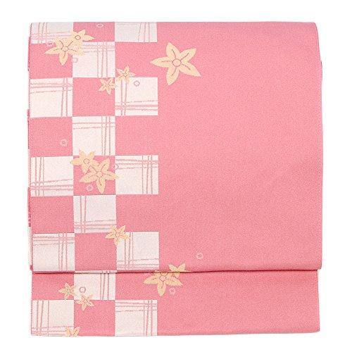 (キョウエツ) KYOETSU 日本製 名古屋帯 市松 紅葉 洗える 仕立て上がり H (ピンク)
