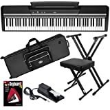 Korg SP-170s Black Digital Piano STAGE BUNDLE w/ Case & Stand