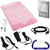 Sony Reader Pocket Edition PRS-300 Rubberized Silicone Skin Case Cover (Pink), Screen Protector, USB Data HotSync / Charging Cable, Car Charger, Wall Charger Power Adapter, Earphones, and a Free Carabiner key Chain