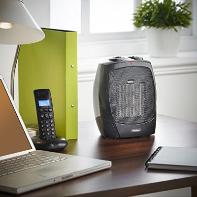VonHaus 1500W Personal Ceramic Fan Heater with 2 Heat Settings Cool Air Function Adjustable Thermostat Small Portable Heater on desk