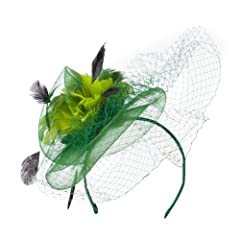 Multi Colored Feather Fascinator with Circle Shaped Net - Green OSFM