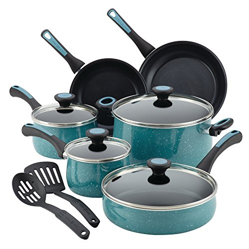 Paula Deen 12 Piece Riverbend Aluminum Nonstick Cookware Set, Gulf Blue Speckle