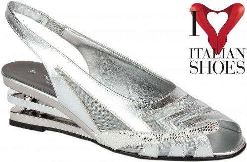 Original Vista Sandaletten für Damen modisch sehr elegant Made in Italy silber