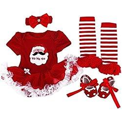 bf23afecb WINMI® Baby Girls' Newborn 1st Christmas Onesie Costume Outfits Tutu Dress  4PCs (S