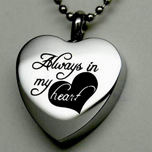 """"""" Always in My Heart """" Cremation Jewelry Silver Urn Necklace Pendant Memorial Keepsake By Maymii 1"""