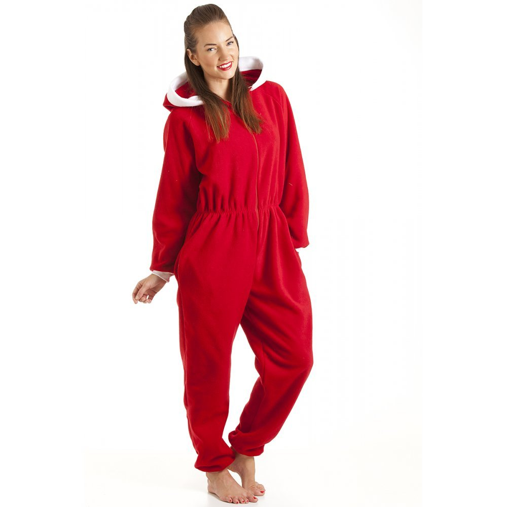 Womens Ladies Luxury All In One Red Hooded Fleece Onesie Pajamas 6-36
