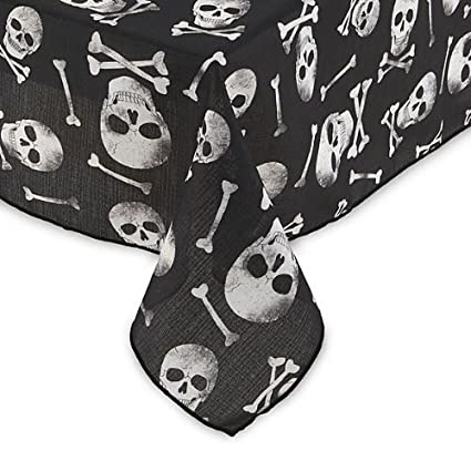 Sandra Lee Halloween Skull & Bones Fabric Tablecloth 60 Round