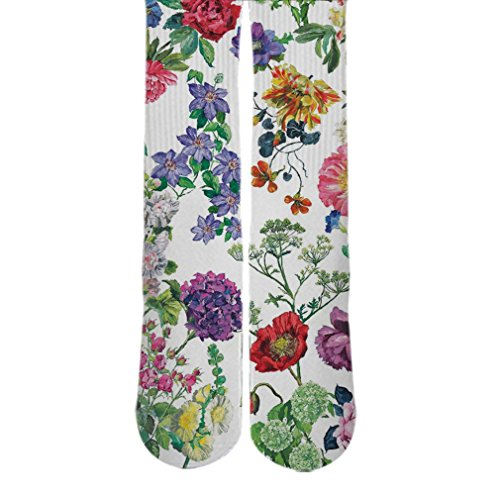 DopeSox Women's Floral Pattern Printed Socks One Size (6-12) White