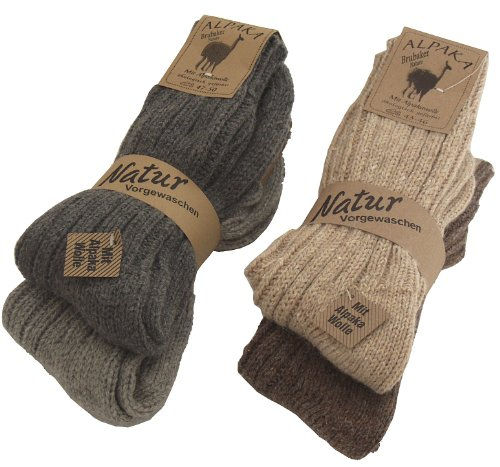 4 Paar BRUBAKER Alpaka Socken sehr dick flauschig und warm – reine Alpakawolle