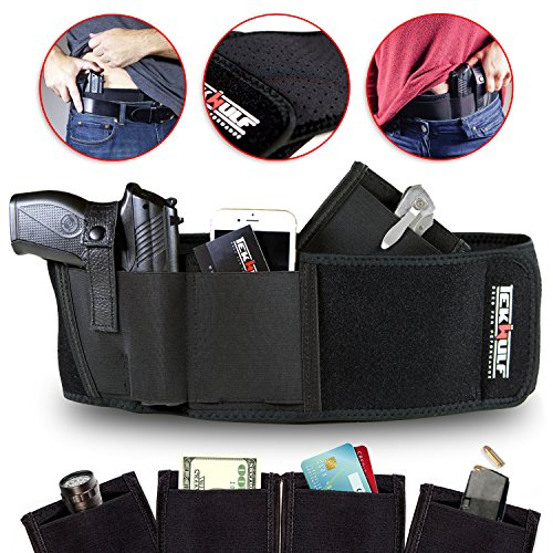 TekWulf Elite Conceal Carry Belly Band Gun Holster | Multifunctional | Fits Most Handguns & Revolvers | Breathable Neoprene | Unisex | Two Storage Pouches with Fast Draw Design (Right Hand Only)