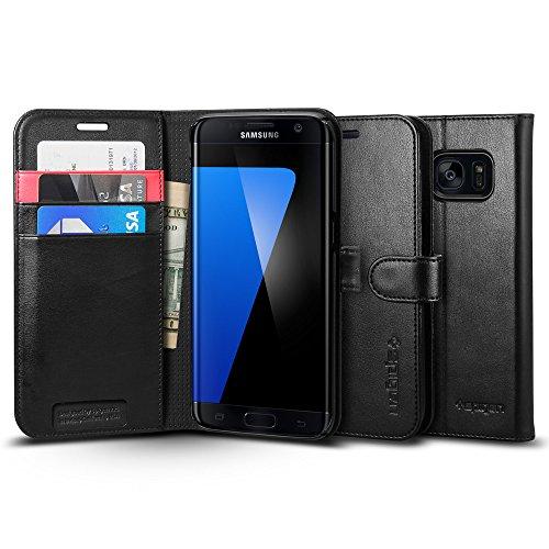 【Spigen】 Galaxy S7 Edge ケース ウォレット S  手帳型 レザー スタンド機能  ギャラクシー S7 エッジ 用 カバー Galaxy S7 Edge ブラック