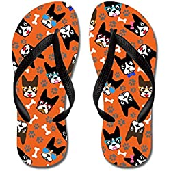 Poppylife Cute Boston Terrier Dog Flip Flops for Women HavaianasRed Adults M, Black