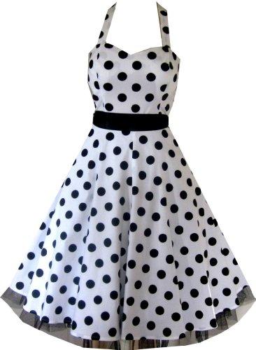 Pretty Kitty Fashion 50s Groß Weiß Schwarz Polka Dot Schwarz Weiß Neckholder Cocktail Kleid