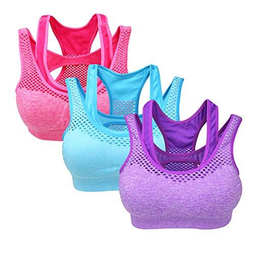 Yolev Damen Sport BHs ohne Bügel Doppellagiger Fitness Sport Bra ein Pack von 3, mehre Farbe