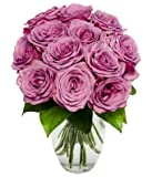 From You Flowers - Easter - Pure Purple Roses - One Dozen (FREE Vase Included)