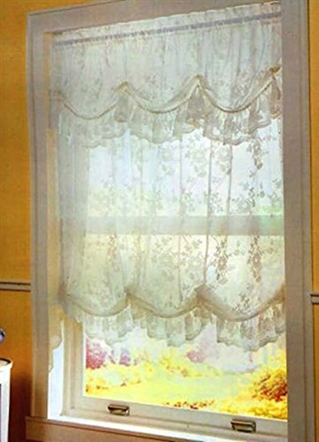 Alison Lace Balloon Shade 58W X 64L White With Attached