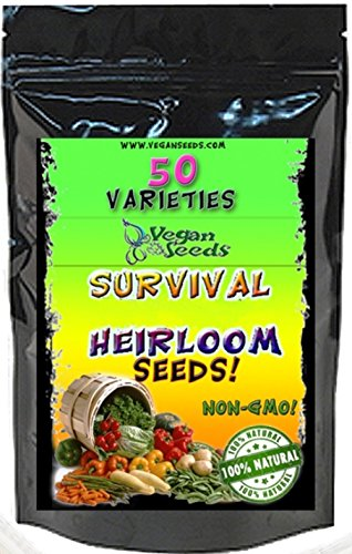 #1 Heirloom Garden Seeds, 54 Varieties, Lifetime Satisfaction Guarantee! Non-gmo, Non-hybrid 34,000 Seeds! Bonus Free Seed Starting, Growing and Harvesting Guide New Twice The Seeds As any Competition All Seeds Are Vegan