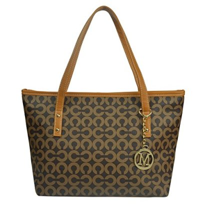Micom-Casual-Signature-Printing-Pu-Leather-Tote-Shoulder-Handbag-with-Metal-Decoration-for-Women-Coffe