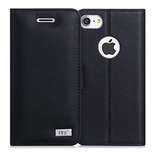 iPhone7ケース アイフォン7ケースFyy RFIDブロッキング 最高級本革 100%手作り 最高級 本革 横開き 手帳型 保護ケース カード ホルダー 定期入れ スタンド機能付き マグネット式 財布型 カバー スマホケース スマートフォンケース ブラック
