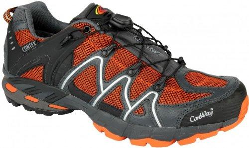 Original CONWAY Trekking Outdoor Wanderschuhe für Damen und Herren mit Contex Membrane und Einhand-Spannschnürung orange/schwarz Groess-36