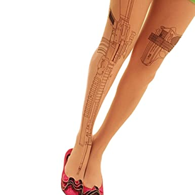 Women's Sexy Machine Gun Tattoo Transparent Tights Stockings Pantyhose